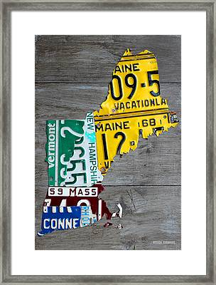 License Plate Map Of New England States Framed Print by Design Turnpike