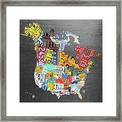 License Plate Map Of North America Canada And The United States On Gray Metal Framed Print