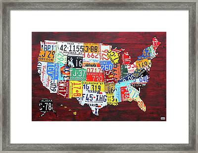 License Plate Map Of The United States Custom Edition 2017 Framed Print by Design Turnpike