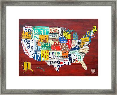 License Plate Map Of The United States - Midsize Framed Print by Design Turnpike