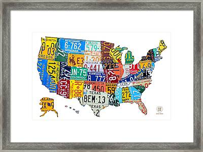 License Plate Map Of The United States Outlined Framed Print