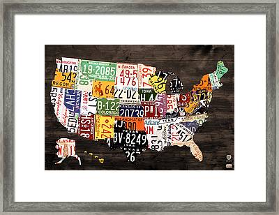 License Plate Map Of The United States - Warm Colors / Black Edition Framed Print