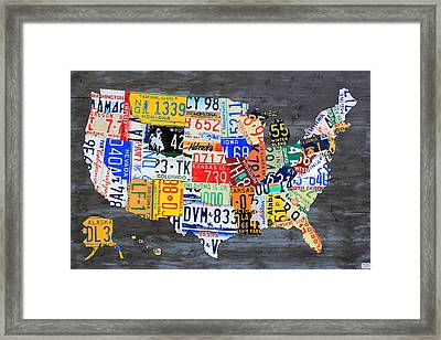 License Plate Map Of The Usa On Gray Distressed Wood Boards Framed Print by Design Turnpike