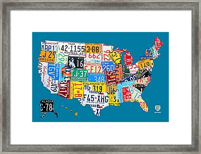 License Plate Map Of The Usa On Royal Blue Framed Print by Design Turnpike