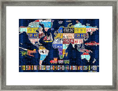 License Plate Map Of The World Travel Recycled Vintage Art With Augustine Quote Framed Print by Design Turnpike