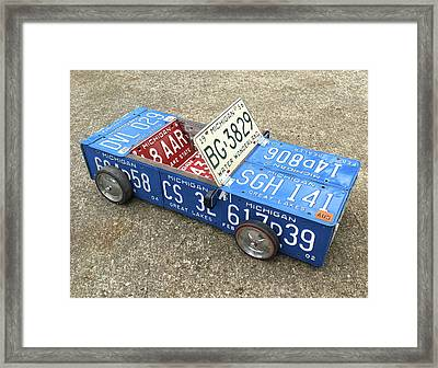 License Plate Vintage Roadster Mobile Made From Recycled Michigan Car Tags Framed Print