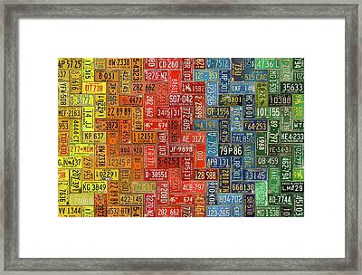 License Plates Of The United States Colorful Tile Pattern Art Framed Print
