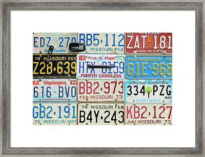 License Plates Framed Print