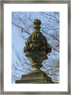 Lichen Covered Urn Framed Print by Teresa Mucha