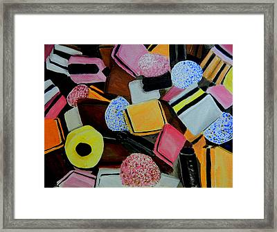 Licorice All Sorts Framed Print by Betty-Anne McDonald