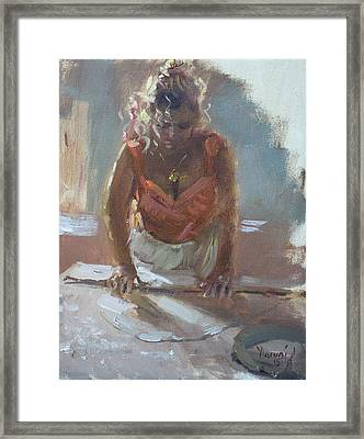 Lida Making Pie Framed Print by Ylli Haruni