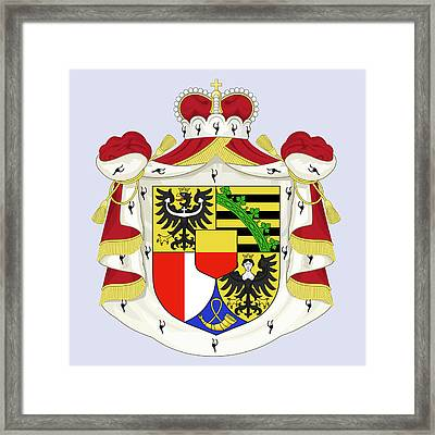 Framed Print featuring the drawing Liechtenstein Coat Of Arms by Movie Poster Prints