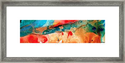 Life Eternal Red And Green Abstract Framed Print by Sharon Cummings