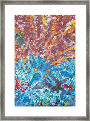 Framed Print featuring the painting Life Ignition Mural V1 by Julia Woodman