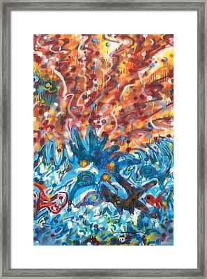 Framed Print featuring the painting Life Ignition Mural V3 by Julia Woodman