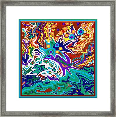 Framed Print featuring the painting Life Ignition Option 2 With Borders by Julia Woodman