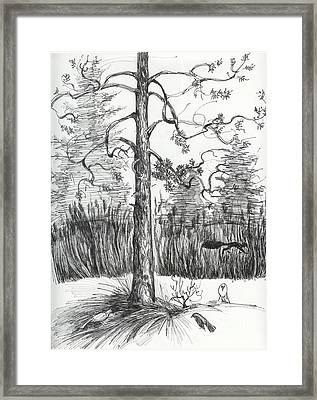 Framed Print featuring the drawing Life In The Forest by Anna  Duyunova