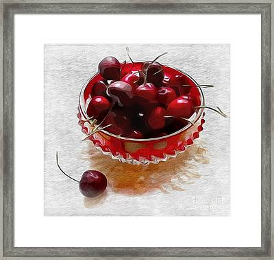 Framed Print featuring the digital art Life Is A Bowl Of Cherries by Alexis Rotella