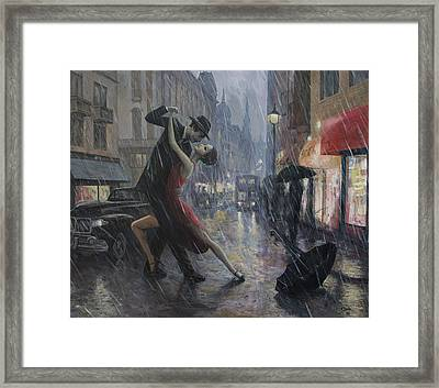 Life Is A Dance In The Rain Framed Print by Adrian Borda