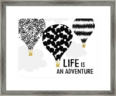 Life Is An Aventure Hot Air Balloon- Art By Linda Woods Framed Print