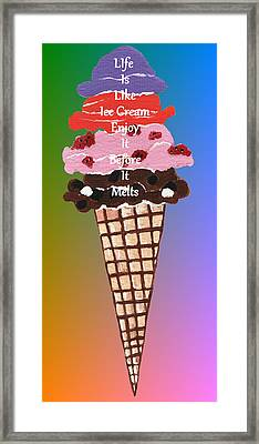 Framed Print featuring the painting Life Is Like Ice Cream by Kathleen Sartoris