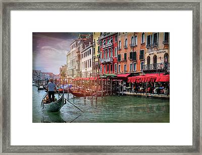 Life On The Grand Canal Venice Italy  Framed Print