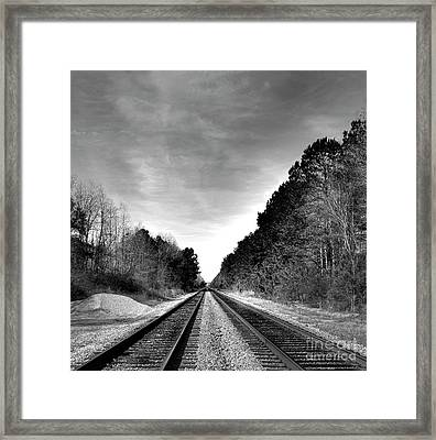 Life On The Rails Bnw Framed Print by Skip Willits