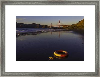 Life Ring And Starfish Framed Print by Garry Gay