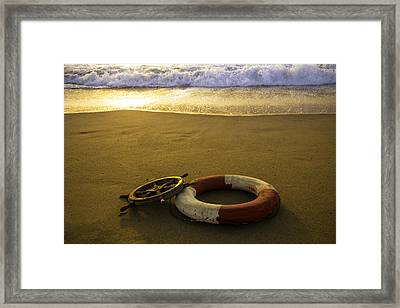 Life Ring On Beach Framed Print by Garry Gay