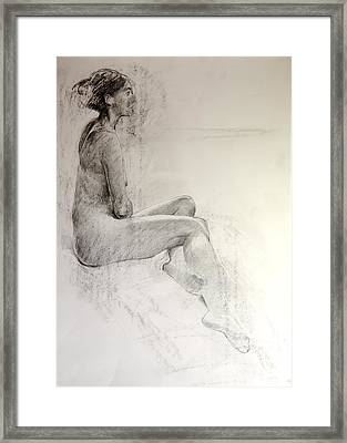 Framed Print featuring the drawing Life Study by Harry Robertson