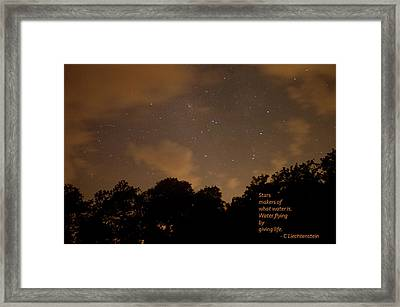 Life, Water And Stars Framed Print