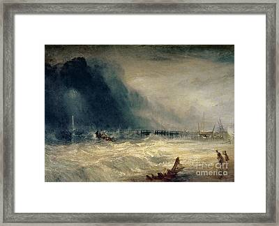 Lifeboat And Manby Apparatus Going Off To A Stranded Vessel Making Signal Of Distress Framed Print