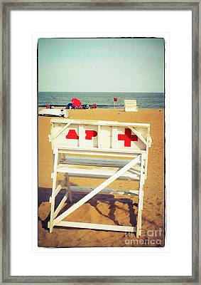 Framed Print featuring the photograph Lifeguard Chair - Asbury Park by Colleen Kammerer