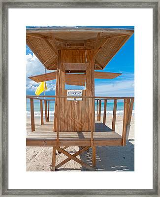 Lifeguard Hut On The Beach Framed Print by George Oze
