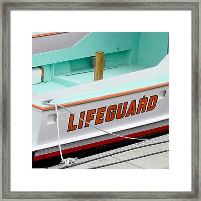 Lifeguard Rescue Boat Framed Print by Art Block Collections