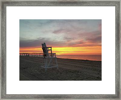 Lifeguard Stand On The Beach At Sunrise Framed Print