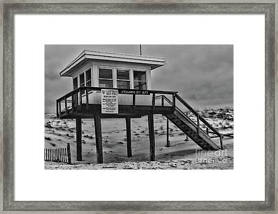 Framed Print featuring the photograph Lifeguard Station 1 In Black And White by Paul Ward