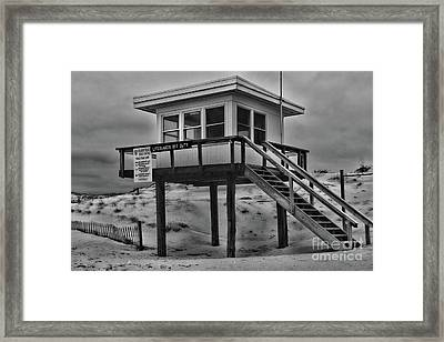 Framed Print featuring the photograph Lifeguard Station 2 In Black And White by Paul Ward