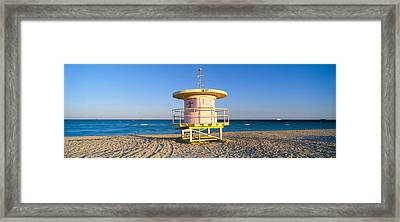 Lifeguard Station At South Beach, Miami Framed Print by Panoramic Images