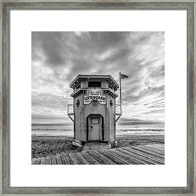 Framed Print featuring the photograph Lifeguard Station In Black And While by Cliff Wassmann