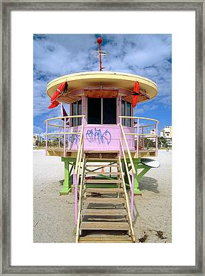 Lifeguard Station South Beach Miami  Florida Framed Print by George Oze