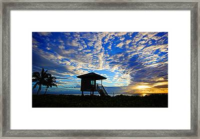 Lifeguard Station Sunrise Framed Print