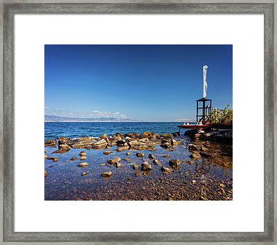 Lifeguard Tover And Boat In Reggio Calabria Near The Beach Framed Print