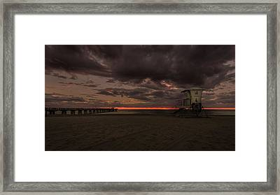 Lifeguard Tower At Sunrise Framed Print