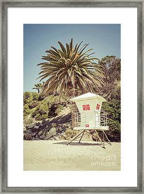 Lifeguard Tower Laguna Beach Retro Picture Framed Print by Paul Velgos
