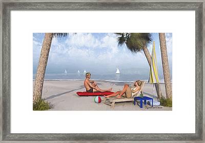 Framed Print featuring the digital art Life's A Beach by Jayne Wilson