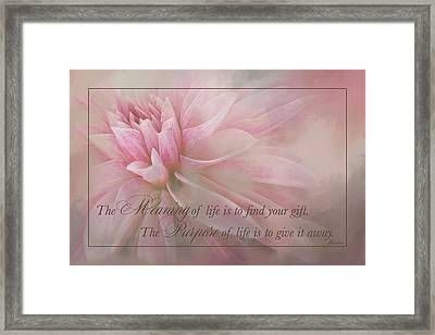 Lifes Purpose Framed Print