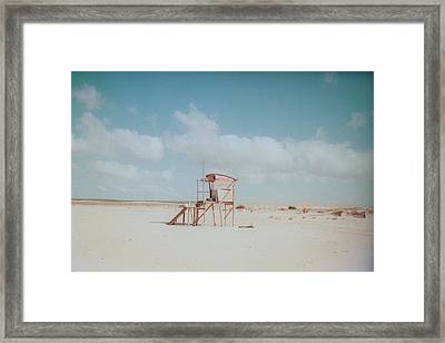 Lifesaver On Beach Framed Print by La FruU photography. Life through my lense