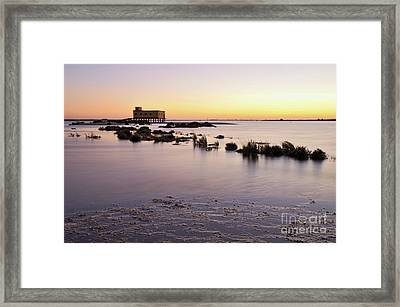 Lifesavers Building And Tides In Fuzeta Framed Print by Angelo DeVal