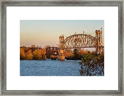 Lift Bridge At Sunset Framed Print